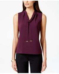 Calvin Klein - Purple Sleeveless Tie-neck Blouse - Lyst