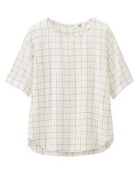 Uniqlo - White Women's Short Sleeve Satin Blouse - Lyst