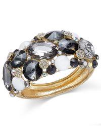 INC International Concepts | Metallic Gold-tone Crystal Cluster Hinge Bracelet | Lyst
