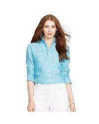 Ralph Lauren - Green Striped Linen Shirt - Lyst