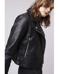 TOPSHOP - Black Faux Leather Biker Jacket - Lyst