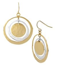 Robert Lee Morris | Metallic Two-tone Hammered Orbital Drop Earrings | Lyst