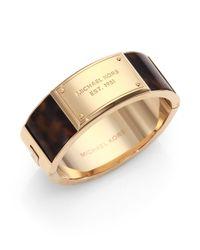 Michael Kors - Metallic Tortoiseprint Plaque Cuff Bracelet - Lyst
