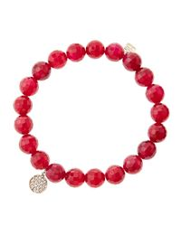 Sydney Evan - 8Mm Faceted Red Agate Beaded Bracelet With Mini Yellow Gold Pave Diamond Disc Charm (Made To Order) - Lyst