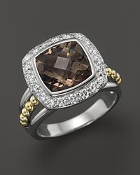 Lagos | Metallic 18K Gold And Sterling Silver Prism Large Smoky Quartz Ring With Diamonds | Lyst