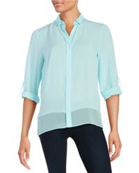 T Tahari | Blue Chiffon Button-front Blouse | Lyst