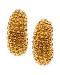 T Tahari | Metallic Gold Tone Small Textured Hoop Earrings | Lyst