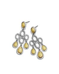 David Yurman - Metallic Sculpted Cable Chandelier Earrings With Gold Domes - Lyst