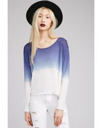 Forever 21 - Blue Ombré Side-slit Sweater - Lyst