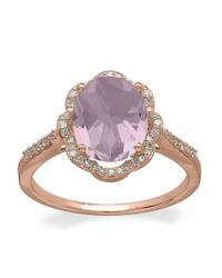 Lord & Taylor | 14kt. Rose Gold Diamond And Pink Amethyst Ring | Lyst