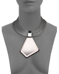 Lafayette 148 New York | Gray Mirrored Lucite Pendant Necklace | Lyst