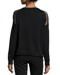 Neiman Marcus - Black Cashmere Lace & Chiffon Shoulder-inset Top - Lyst
