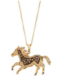 Le Vian | Metallic Chocolate Diamond (1/3 Ct. T.W.) And White Diamond (1/3 Ct. T.W.) Horse Pendant In 14K Gold | Lyst