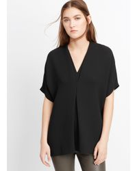 VINCE | Black Short Sleeve Crepe Double V-neck Blouse | Lyst