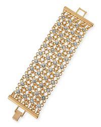 R.j. Graziano | Metallic Golden Crystal Mesh Bracelet | Lyst