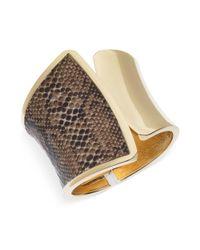 Guess - Metallic Goldtone Python Print Hinge Cuff Bracelet - Lyst