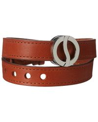 Philip Stein | Stainless Steel Buckle Bracelet With Brown Wrap Calf Strap | Lyst