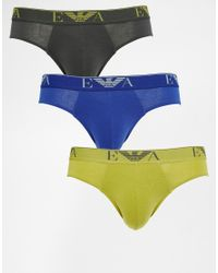 Emporio Armani | Green Briefs In 3 Pack for Men | Lyst