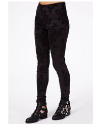 Missguided - Multicolor Chica Floral Flock Leggings - Lyst