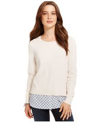 Tommy Hilfiger | Natural Layered-hem Popover Sweater | Lyst