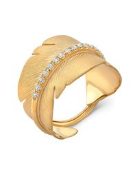Anne Sisteron - Metallic 14kt Yellow Gold Diamond Feather Ring - Lyst