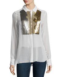 Figue - White Emmanuelle Embellished Tuxedo Shirt - Lyst