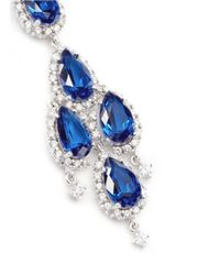 CZ by Kenneth Jay Lane | Blue Pear Stone Chandelier Drop Earrings/silvertone | Lyst