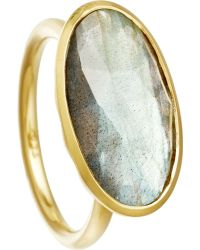 Astley Clarke - Gray Labradorite 18Ct Gold Vermeil Cocktail Ring - For Women - Lyst