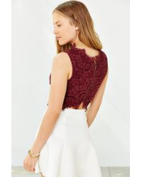 Kimchi Blue - Red Lacey Cropped Tank Top - Lyst