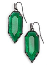 Kendra Scott | Green 'palmer' Drop Earrings - Gunmetal/ Emerald Glass | Lyst
