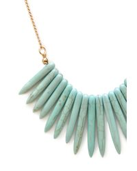 Forever 21 Blue Faux Stone Fringe Necklace