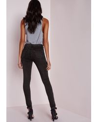 Missguided | Gray Hustler Mid Rise Eyelet Seam Skinny Jeans Charcoal | Lyst
