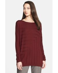 St. John | Red Angled Rib Knit Sweater | Lyst