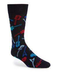 Bugatchi - Black Guitar Pattern Cotton Blend Socks for Men - Lyst