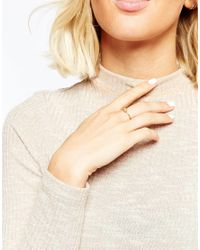 ASOS - Metallic Fine Diamond Dipped Ring - Lyst