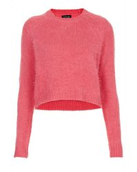 TOPSHOP | Red Knitted Fluffy Crop Jumper | Lyst