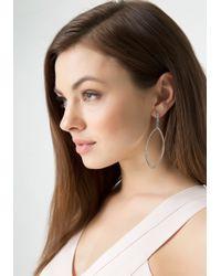 Bebe - Metallic Pave Marquis Hoop Earrings - Lyst