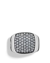 David Yurman | Metallic Pavé Signet Ring With Gray Sapphires for Men | Lyst