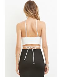 Forever 21 | White Crisscross-cutout Cropped Cami | Lyst