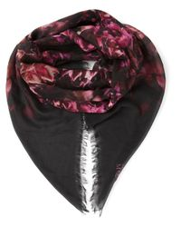 Alexander McQueen | Red Floral Print Scarf | Lyst
