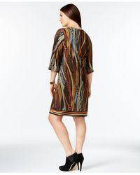 Spense | Black Plus Size Printed Peasant Dress | Lyst