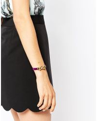 Ted Baker | Purple Leather Bow Bracelet | Lyst
