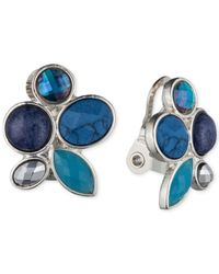 Jones New York | Silver-tone Faceted Blue Stone Clip-on Earrings | Lyst