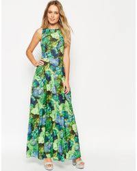 0315fcecc3e1 Lyst - ASOS Cross Back Maxi Dress In Green Floral Print