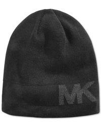 Michael Kors | Black Michael Reversible Logo Jacquard Beanie for Men | Lyst
