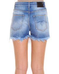 R13 - Blue Shredded Shorts - Lyst