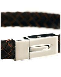 Seven London - Brown Woven Leather Bracelet for Men - Lyst