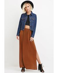 Forever 21 | Brown Side-slit Satin Maxi Skirt You've Been Added To The Waitlist | Lyst