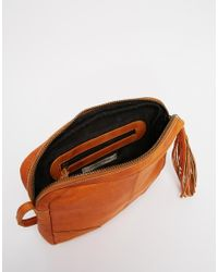 Pieces - Brown Leather Cross Body Bag - Lyst