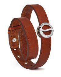 Philip Stein | Leather Horizon Doublewrap Bracelet Brownstainless | Lyst